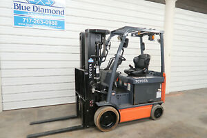 2014 Toyota 8fbchu25 5 000 Electric Forklift 48 Volt Battery Quad Mast