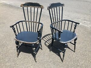 Pair Of Industrial Metal Windsor Arm Chairs With Distressed Painted Finish