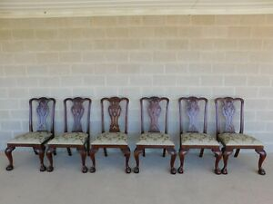 Maitland Smith Chippendale Style Mahogany Ball Claw Foot Set Of 6 Side Chairs
