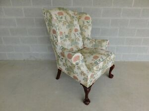 Kindel Chippendale Style Ball Claw Foot Wing Back Arm Chair