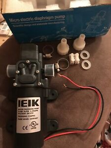 Ieik Water Pressure Diaphragm Pump Dc 12v Switch Sprayer 5lpm 1 35 Gpm 116psi Rv