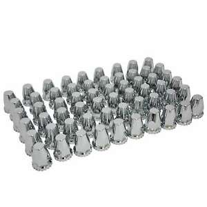60 Pieces Chrome Abs Threaded Lug Nut Covers With Flange 33mm And 32mm