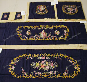 Royal Palacedecor Stunning Floral Golden Swirl Navy Chair Sofa Cover Sets Deluxe
