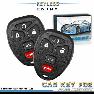 2x New Replacement Keyless Entry Remote Car Key Fob For Chevy Gmc Buick Cadillac