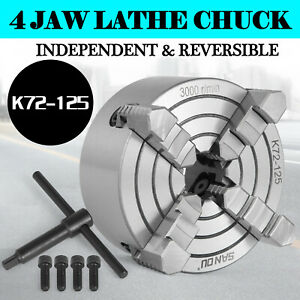 Lathe Chuck K72 125 5 4 Jaw Independent Cnc 125mm Wood Turning 2 Years Warranty
