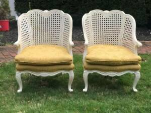 Vintage Shabby Chic French Cane Chairs Pair