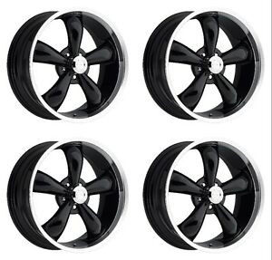 Set 4 18 Vision 142 Legend 5 Black Machined Rims 18x8 5 5x4 75 10mm Chevy 5 Lug