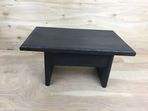 Vintage Primitive Style Black Wood Painted Milking Bench Rustic Stool Farmhouse