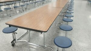 18 Available Folding Cafeteria Table Oak Top W 12 Blue Stool Adult Size 12ft