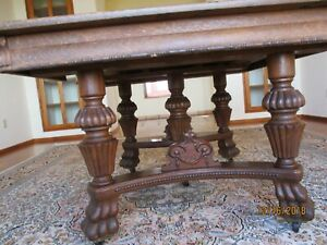 Large Antique Ornate Oak Dining Table 4 X10