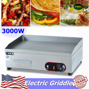 Commercial Electric Griddle Flat Hotplate 3kw Stainless Steel Bbq Grill Machine