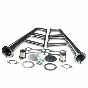 Lake Style Headers Fits Sbc 265 400 V 8 Chrome Chevy Hot Rod Street Rat