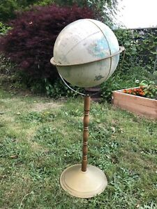 Vtg Cram S Imperial 32 Tall W 12 World Globe Mounted On Stand Free S H