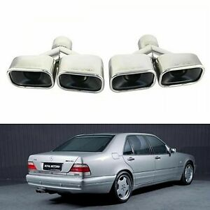 Amg Style Chrome Square Dual Exhaust Tip For Mercedes Benz W140 W210 W203 W208
