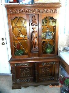 Antique Carved Figural Sideboard French Gothic China Cabinet Bookcase Oak
