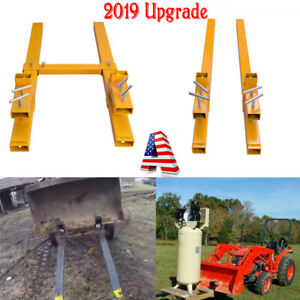 2000lbs 3500lbs Clamp On Pallet Forks Loader Bucket Skidsteer Tractor Chain Usa