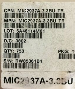 Mic2937a 3 3bu Micrel Ic Reg Linear 3 3v 750ma To263 3 Smd 50 Pieces