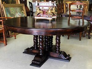 Antique Style Country French Barley Twist 66 Round Solid Hardwood Dining Table