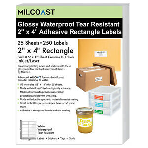 Milcoast Glossy Waterproof Tear Resistant 2 X 4 Rectangle Labels 250 Labels