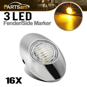 16x Yellow 3 Oval 3 Led Marker Clearance Lights Chrome Fits Sunvisor Clear Lens