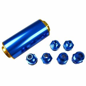 100 Micron Fuel Filter Cleanable An6 An8 An10 Ss Inline Yellow Blue High Flow