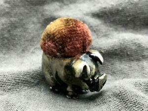 Antique 19c English Hallmarks Sterling Silver Figural Pig 1 Pin Cushion Ts