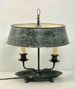 Vintage French Tole Bouillotte Lamp With Dark Green Black Sponge Pattern
