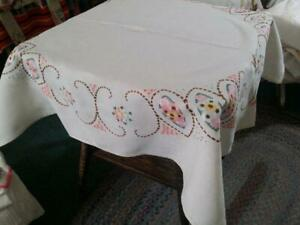 Vintage Pure Linen Tablecloth Arts And Crafts Floral Embroidery 41x44