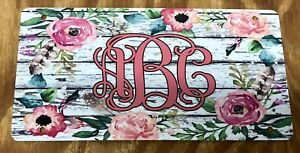 Monogram License Plate Flower Car Tag White Rustic Wood Personalized Car Tag New