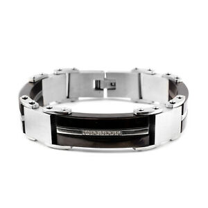 Bracelet Stainless Steel Round Crystal Jewelry For Mens Size 8 25