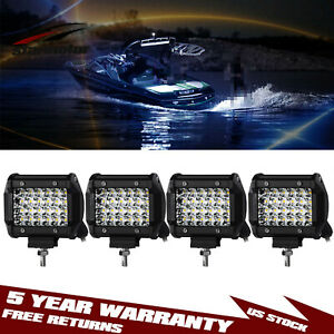 4x 4 400w Spreader Led Deck marine Waterproof Light For Boat Spot Flood 12v 24v
