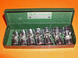 S k Swivel Socket Set Sae 3 8 Drive 6 Point Usa 7 Sockets In Metal Case