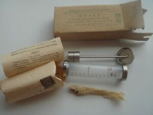 Vintage Soviet Glass Syringe Record 20 Ml Needles In Original Box Made In Cccp