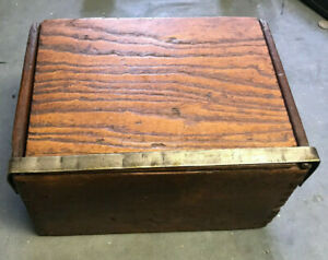 Vintage Wooden Dove Tailed Hinged Box With Metal Closure Cigar Box