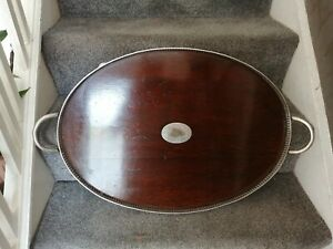 Antique Edwardian Silver Plated And Mahogany Gallery Serving Tray