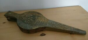 Vintage Brass Fire Bellows Hammered With Ship Design 37cms Antique Wooden Wood