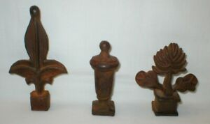 Antique Cast Iron Fence Gate Toppers Finials Lot Of 3 Rustic Decor