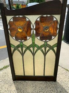 Set Of Two Arts And Craft Period Leaded Stained Glass Panels Poppy Design
