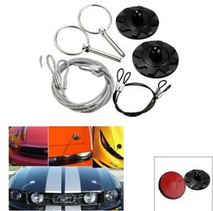 Cnc Universal Car Racing Sport Bonnet Hood Pin Lock Latch Appearance Kit Black