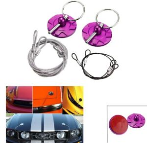 Cnc Universal Car Racing Sport Bonnet Hood Pin Lock Latch Appearance Kit Purple