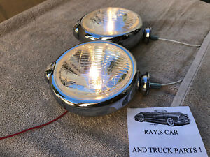 New Small 6 Volt Clear Vintage Style Fog Lights With Fog Cap On Lights