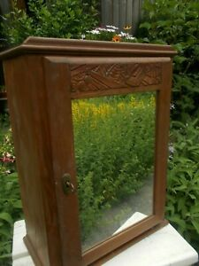 Hand Carved Oak Medicine Kitchen Bathroom Wall Cabinet Apothecary Mirror