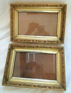 2 Antique Fit 4 X6 5 Lemon Gold Picture Frame Deep Wood Ornate Fine Art Country