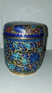 Antique Chinese Cloisonne Gold Champleve Inlay Inlaid Tea Caddy Trinket Box Jar