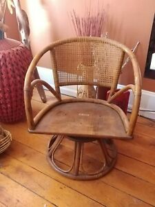 Vintage Ficks Reed Rattan Swivel Seat Chairs
