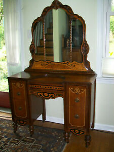 Antique Vintage 20s 30s 4 Drawer Wood Vanity Dressing Table Desk With Mirror