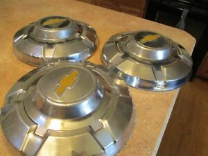 Three 1969 1977 Chevy Hubcaps 3 4 Ton Dog Dish Pickup Truck 12
