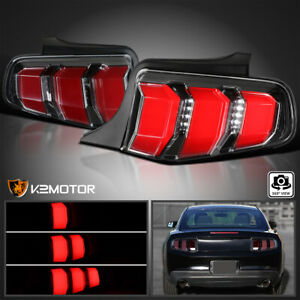 Fits 2010 2012 Ford Mustang Jet Black Led Tail Lights Sequential Signal Lamps
