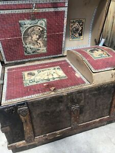 Victorian Antique Humpback Dome Top Steamer Trunk Detailed Hardware