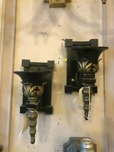 Vintage Empire Revival Pair Of Wall Sconces Re Wired Black And Gold